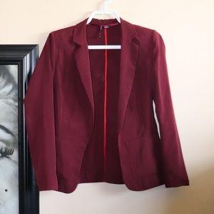 Open burgundy blazer Twik
